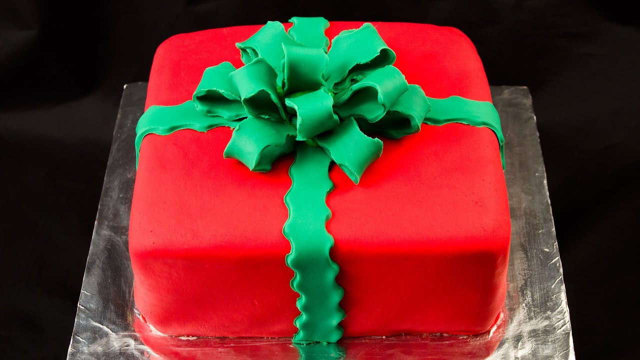 Christmas Cake Decoration Present : How to make a Fondant Bow and Fondant Gift Cake - YouTube