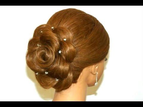 Прическа для длинных волос. Роза из волос.