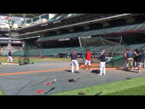 Michael Brantley takes batting practice for Cleveland Indians