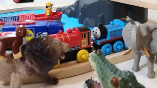 Learning Colors With Wild Animals On Wooden Train Pool Water Colors For Kids