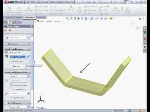 Learn Solidworks 2010 Sheet Metal Youtube