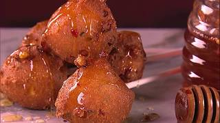 Michael Symon's Corn Fritters with Spicy Honey | The Chew