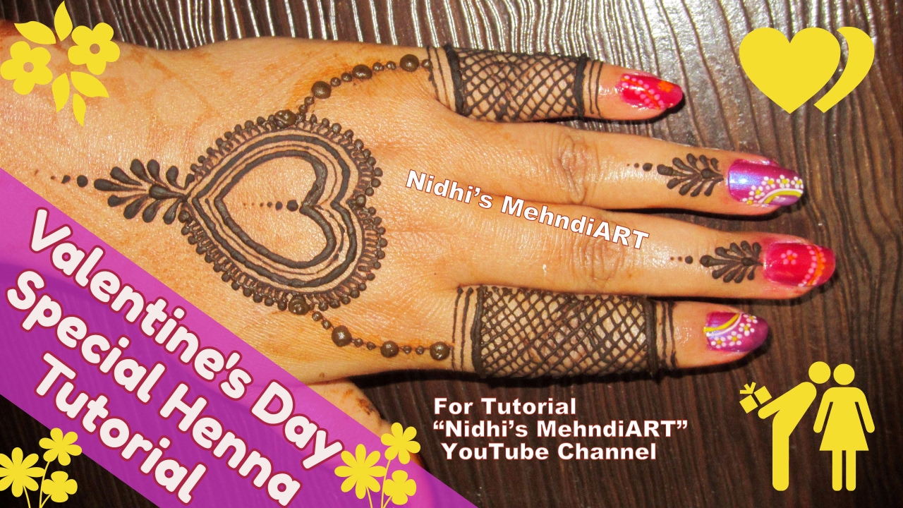 Mehndi Tattoo Back Hand : Lovely valentine s day special heart shaped henna mehndi designs