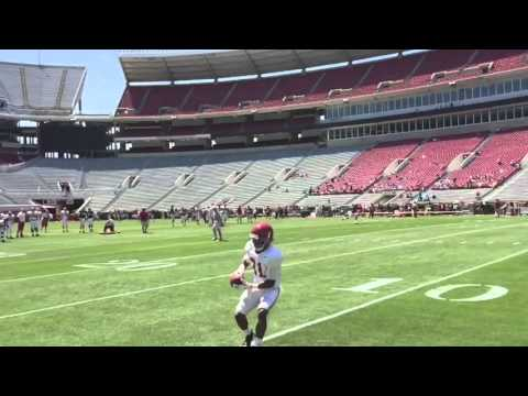 Alabama QBs throwing deep passes before 2016 scrimmage