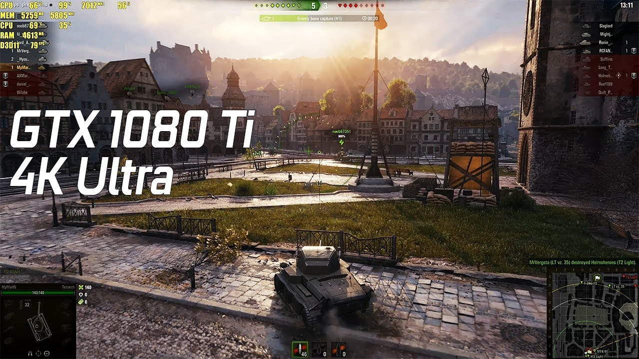World of Tanks Ultra Settings GTX 1080 Ti 4K 60fps