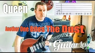 Queen - Another One Bites The Dust - Guitar Tutorial Lesson with guitar tab