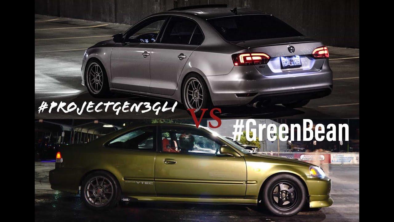 475hp Hybrid IS38 Volkswagen GLI Vs 450hp Big Turbo K20 Honda Civic at SRMS