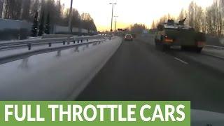 Massive fleet of tanks seen on Finnish highway