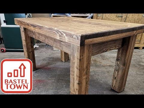 Garten Tisch selber bauen :  Holztisch selber bauen. Anleitung Tischbeine bauen.