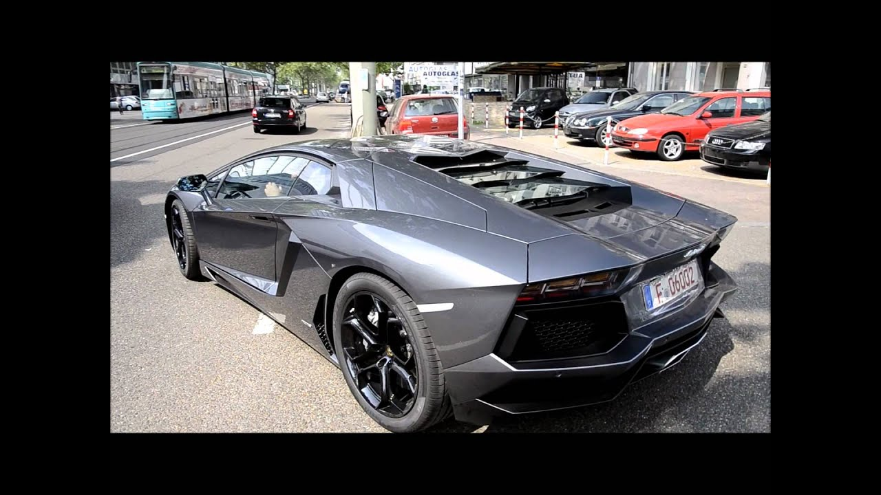 Grey Lamborghini Aventador Drives In Frankfurt Youtube