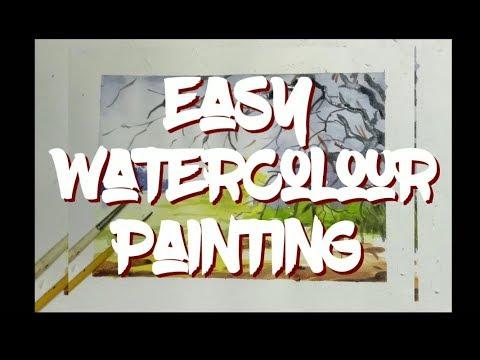 Easy Watercolour Landscape Painting by HrittikrahmaN