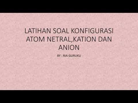 LATIHAN SOAL KONFIGURASI ELEKTRON UNSUR, KATION, DAN ANION