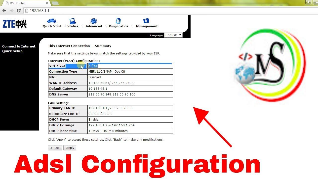 ZTE DSL Router configuration