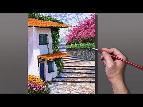 Acrylic Painting Italian Garden Village