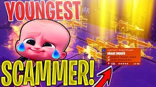 YOUNGEST 5 YEAR OLD Scammer SCAMS Himself *SCAMMER GETS SCAMMED* In Fortnite Save The World
