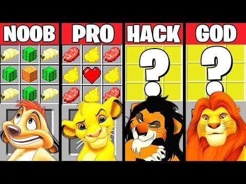 Minecraft Battle: THE LION KING MOVIE CRAFTING CHALLENGE - NOOB Vs PRO Vs HACKER Vs GOD ~ Animation