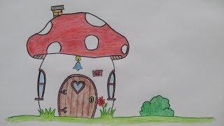 Draw a mushroom smurf house