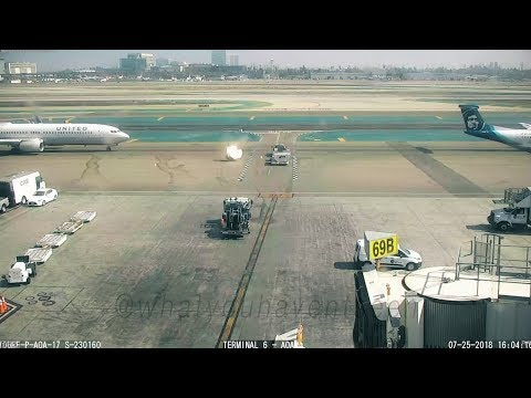 Dash 8's Prop Wash Blows Baggage Dolly Into United 737 At LAX