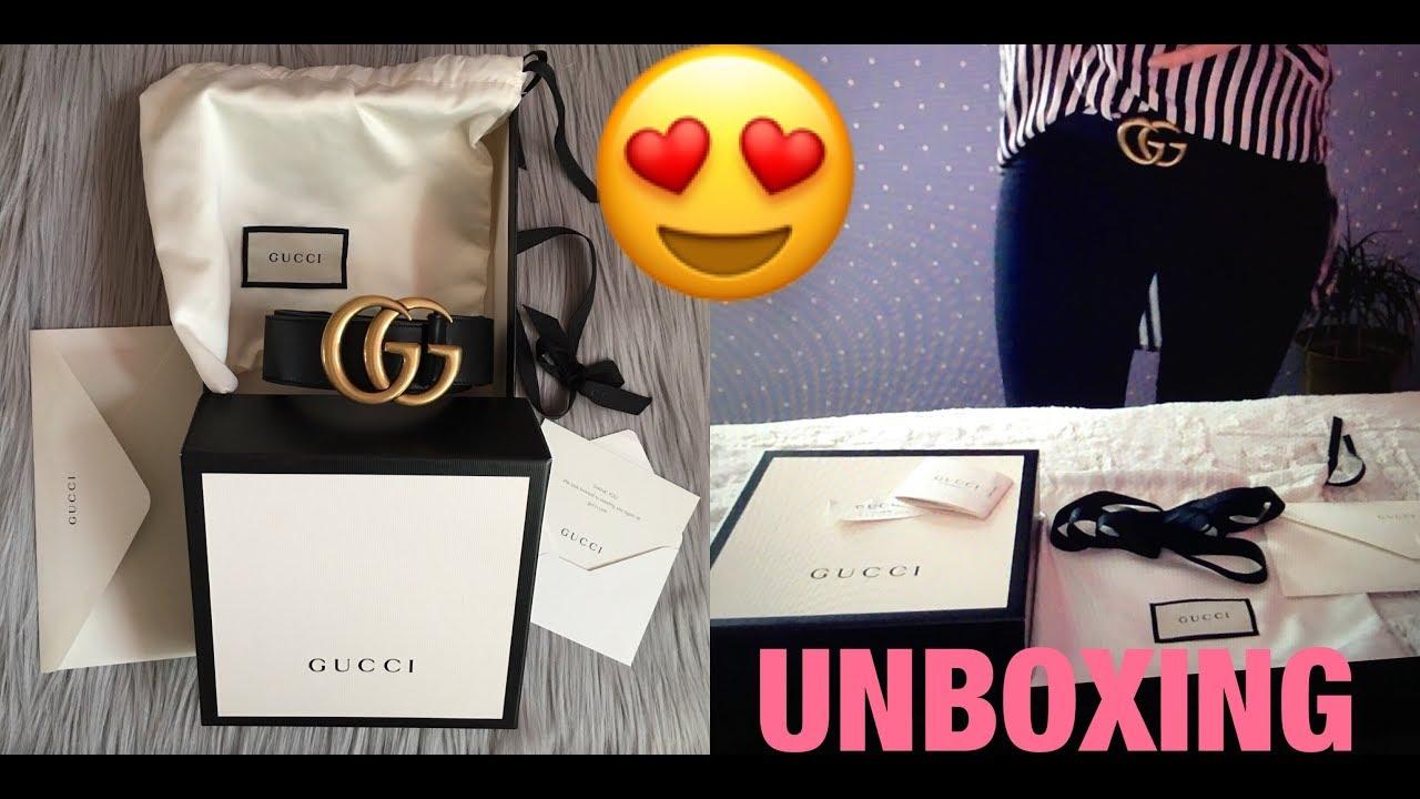 2017 Unboxing GUCCI Marmont BELT , 4cm width , Gucci size 85