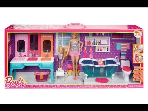 barbie and chelsea glam bathroom set - youtube