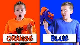 NERF BATTLE Using Only ONE Color with EXTREME Nerf Blasters! (Eli vs Liam Nerf Challenge)
