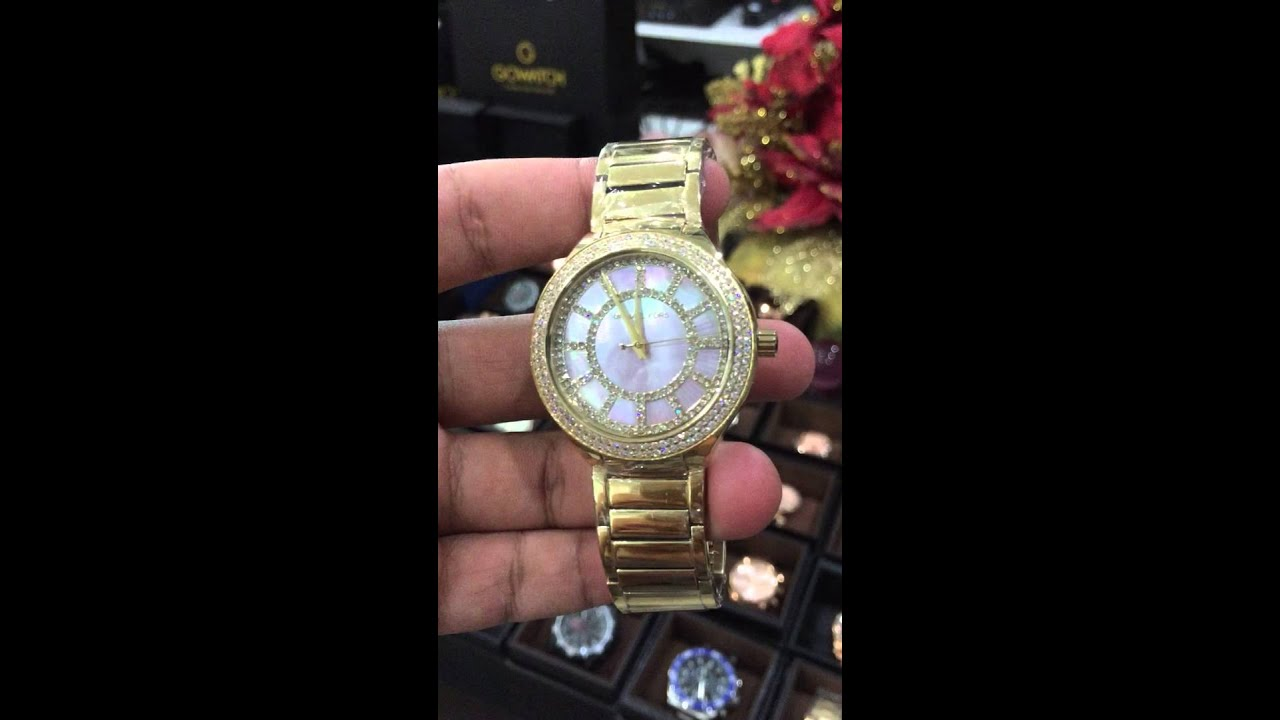 3d73a365bbb7 MICHAEL KORS Kerry Pink Mother of Pearl Dial Gold- tone Stainless Steel  Ladies Watch Item No. MK3396