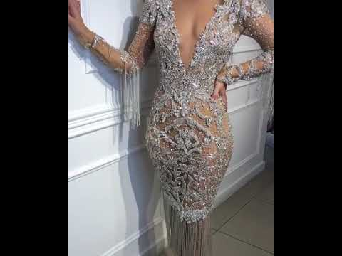 Heavily embellished silver fringe dress : Slay Network