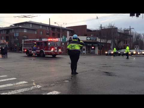 Procession for Boston firefighter Lt. Walsh who died in the line of duty.