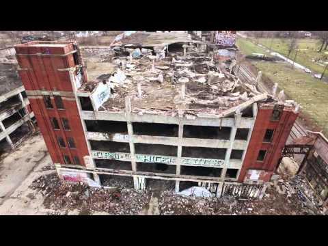 Abandoned Packard Auto Plant Ruins in Detroit MI - DJI Inspire 1 Drone 4K Ultra HD!