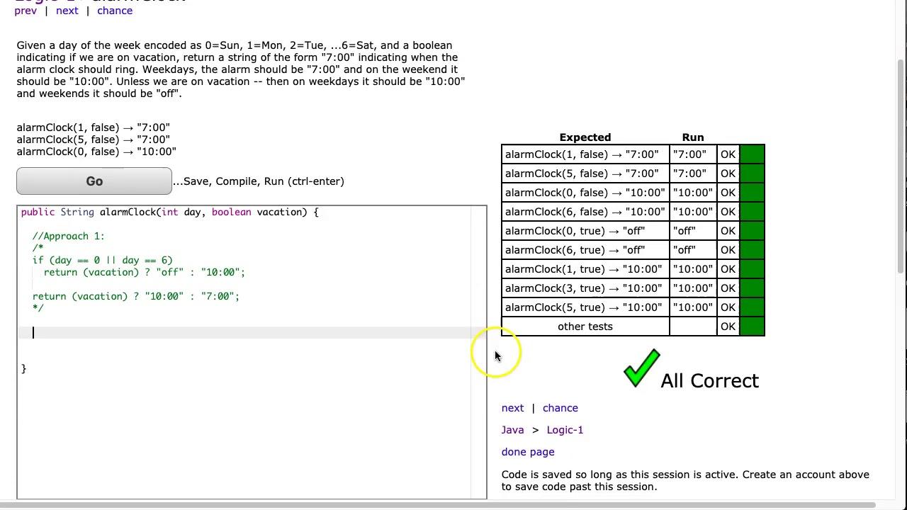 Codingbat Alarmclock Java You