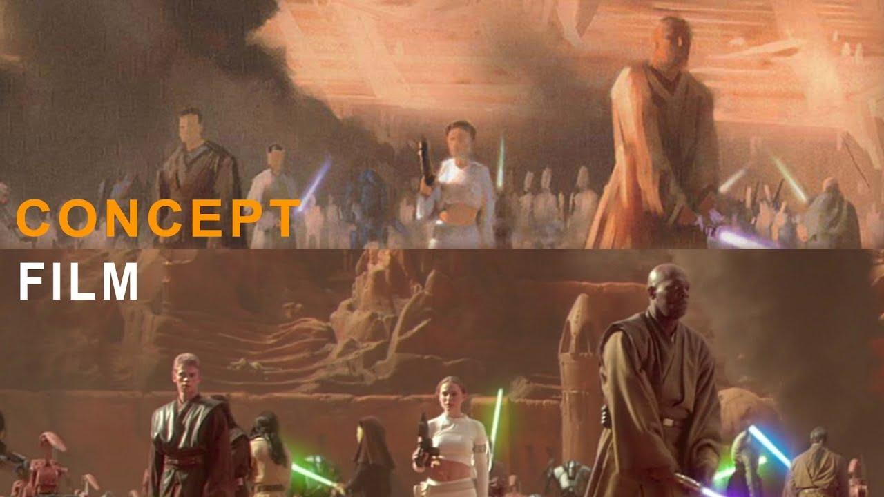 Attack Of The Clones Concept Art Vs Film Youtube