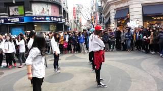 Teen Age Girls Performing EXO at Myeongdong