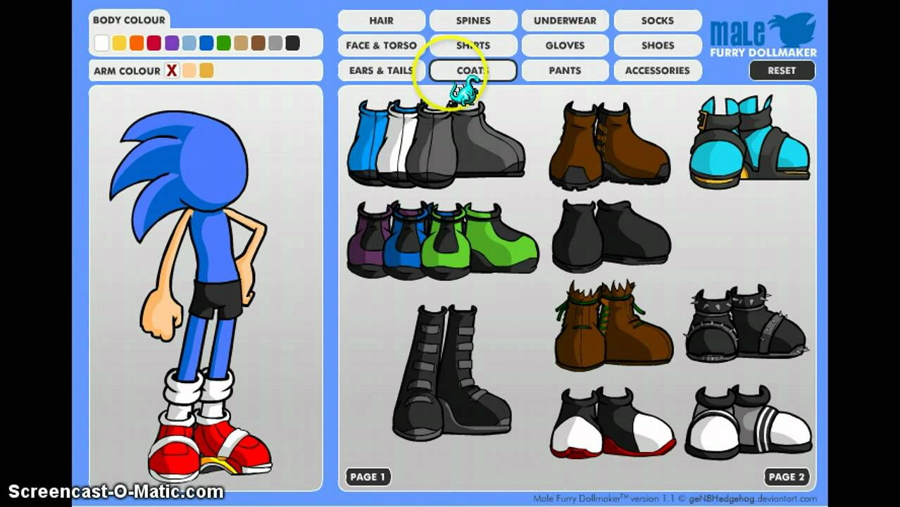 How To Make Sonic The Hedgehog In Furry Dollmaker Youtube