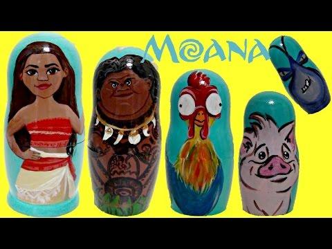 Disney MOANA Princess Nesting Dolls, Maui, Hei Hei, Pua TOY Surprises, Fashem, Mashem / TUYC
