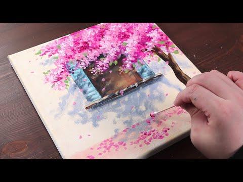Kiraz çiçeği evi / yeni başlayanlar için kolay akrilik boyama / Boyama Eğitimi / Boyama ASMR