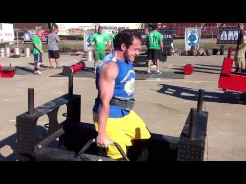 Kalle Beck 630lb yoke walk / 550lb frame carry Medley 2013 Strongman Nationals