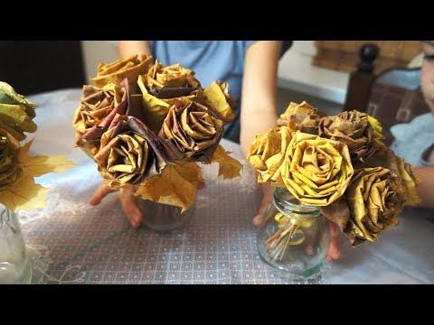 Розы из кленовых листьев розы из кленовых листьев своими руками пошагово