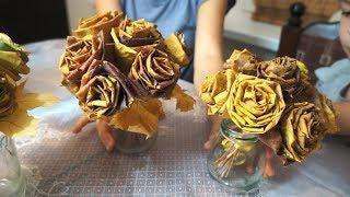 Розы из кленовых листьев / Поделки своими руками