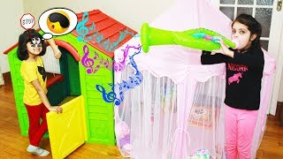 Ashu and Cutie Pretend Play with Playhouse & Toy Katy as Noisy Neighbour Toys And KidsPlay
