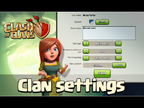 Clash Of Clans UPDATE- CLAN SETTINGS