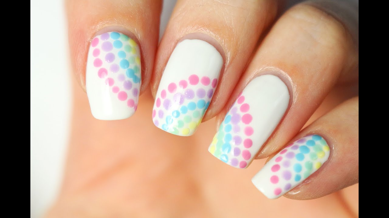 nail art facile au dotting tool pastel rainbow youtube. Black Bedroom Furniture Sets. Home Design Ideas