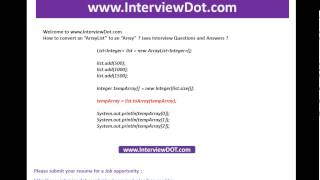 How to convert an arraylist to array java job interview question