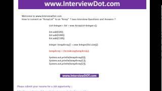 How to convert an arraylist to array java job interview question