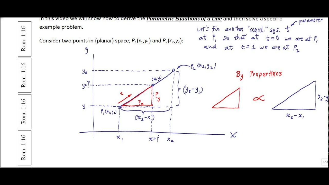 Derivation of Parametric Equations of a Line with Example - YouTube