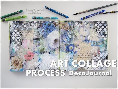 Art Collage Process DecoJournal using Rice Paper and Magazine Cut Outs ♡ Maremi's Small Art ♡