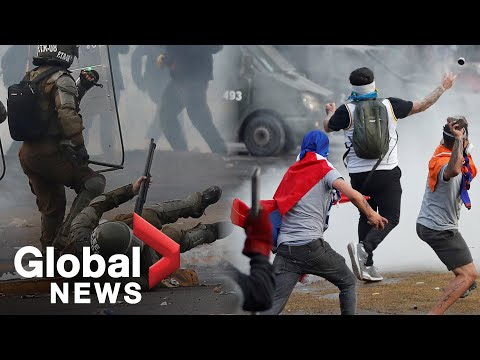Chile protests: Police fire water cannon at protesters as riots continue in Santiago