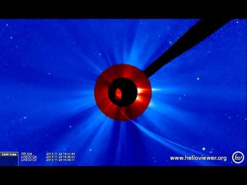 AIA 304, LASCO C2/C3 (2013-11-28 04:33:43 - 2013-11-29 03:44:43 UTC)