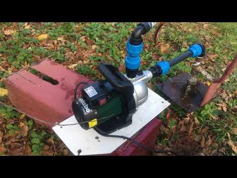 Садовый насос METABO в работе