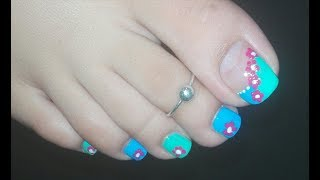DIY Blue French Pedicure with Hot Pink Flowers: Toenail Art Tutorial for Spring/Summer | Rose Pearl
