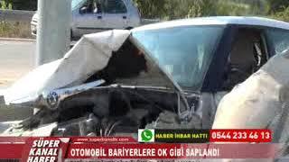 Otomobİl Barİyerlere Ok Gİbİ Saplandi